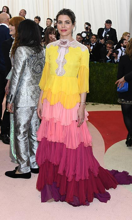 <br>Charlotte attended the 2016 Met Gala  looking stunning in a multi-colored, tiered Gucci gown.