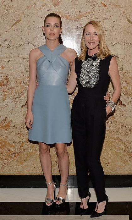 Rocking a pale blue leather dress with designer pal Frida Giannini at a Gucci event.