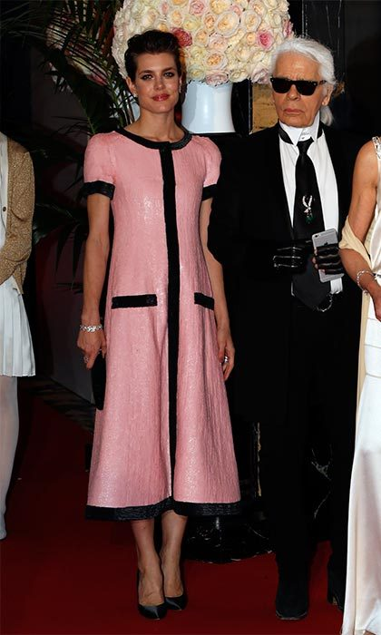 Pretty in pink Chanel with friend, and the fashion house's designer, Karl Lagerfeld.