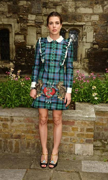 Sporting a quirky tartan number in London.