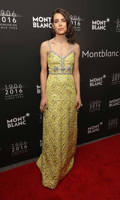 Helping kick off the yellow dress trend at an event in 2015.