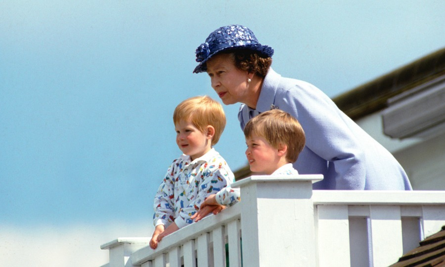 A Queen and her boys! On a sunny day at Guards Polo Club, Smiths Lawn in Windsor during the 1980s, the monarch spent some quality time with grandsons Prince William and Prince Harry. 
