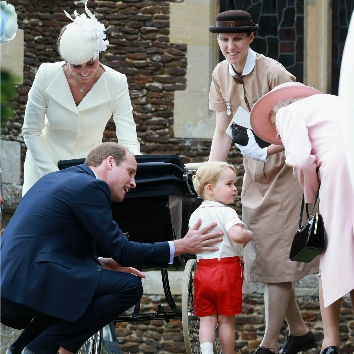 Having guided both her son and grandson, the Queen had a chance to share some thoughts with her great-grandson Prince George and his dad during Princess Charlotte's christening.