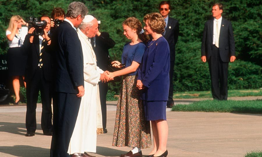 Pope John Paul II shook hands with a 13-year-old Chelsea during his visit to Colorado in 1993.