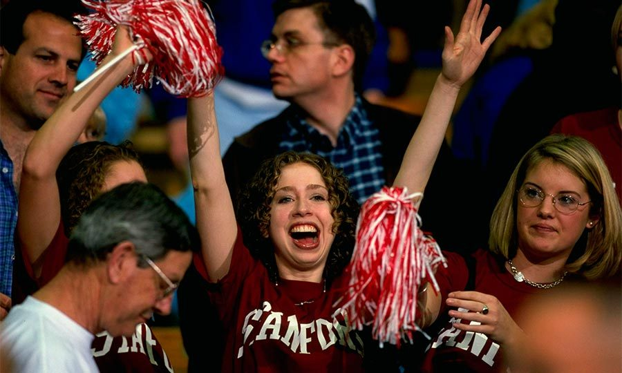 Chelsea showed her team spirit for the Stanford Cardinals as they took on the UCLA Bruins in 1999.