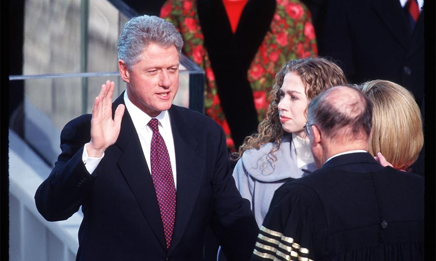 Looking on proudly, Chelsea stood by her father as he was sworn in as the president of the United States for his first term in 1992.
