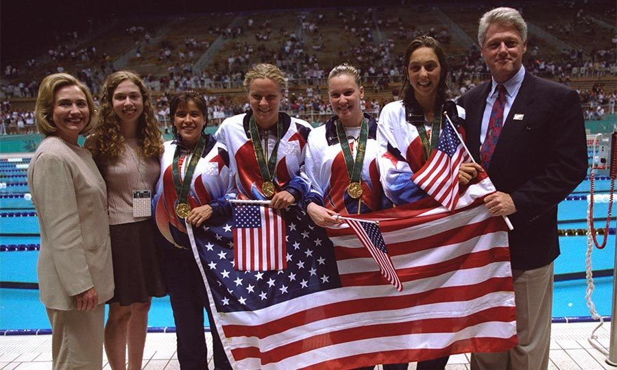 The first family met with the four swimmers who took home gold after winning the women's 4x200m freestyle relay during the 1996 Atlanta Olympics.