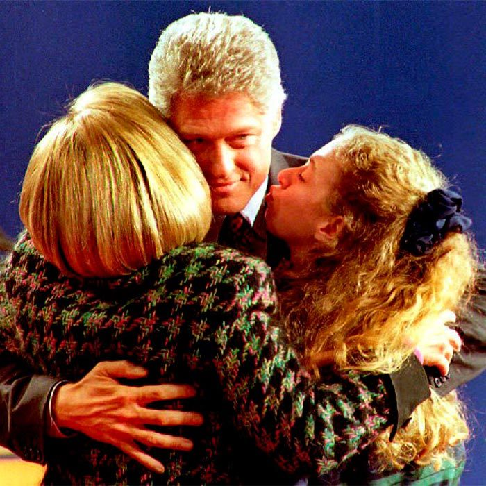 Family hug! Chelsea and her mom Hillary showed their support for Bill in the last few weeks of the 1992 presidential  campaign.