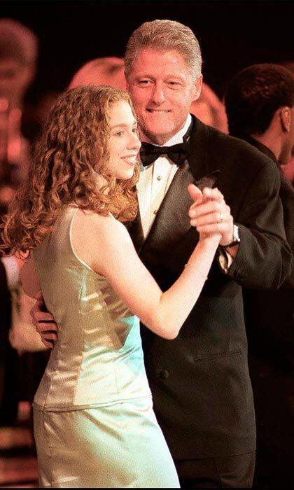 Father-daughter bonding. Bill enjoyed a dance with his daughter at the inaugural ball in January 1993.