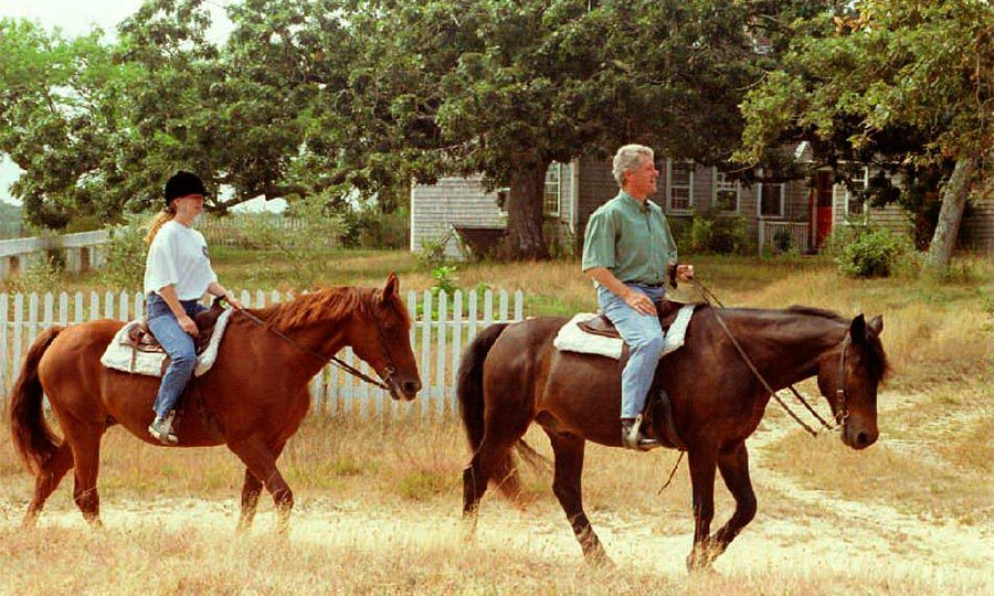Chelsea and her dad enjoyed a horse trek with her father during a summer holiday at Martha's Vineyard.