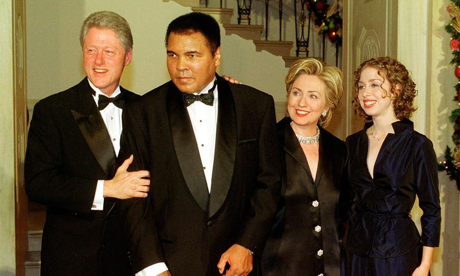 Ringing in the Millennium in style, the Clintons were joined by iconic boxer Muhammad Ali as they celebrated the turn of the century at the White House.