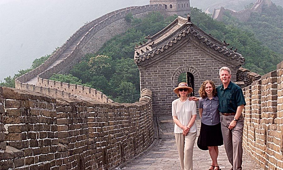 Taking in one of the great wonders of the world, the first daughter climbed the Great Wall of China with her parents during a nine-day visit to the country.