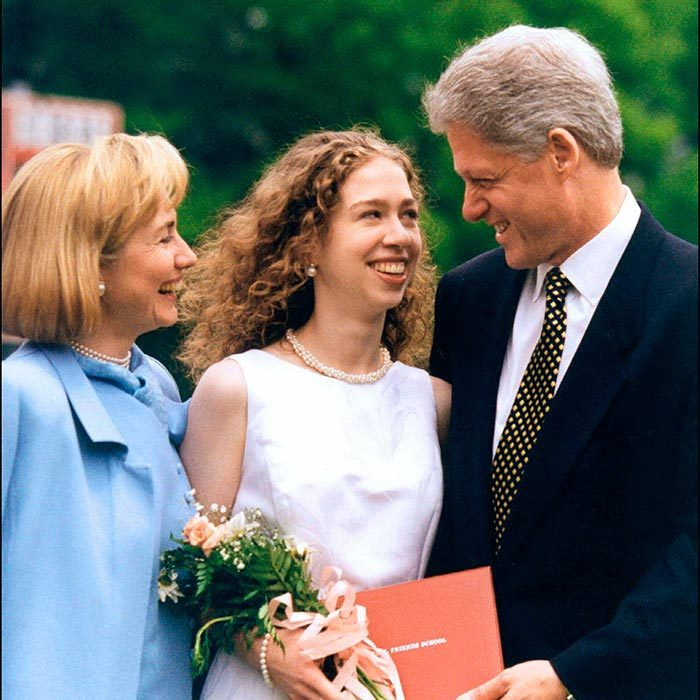 Hillary and Bill beamed at their daughter during her graduation ceremony from Sidwell Friends Academy in Washington, D.C. Chelsea's father gave the commencement address to the group of graduating seniors.