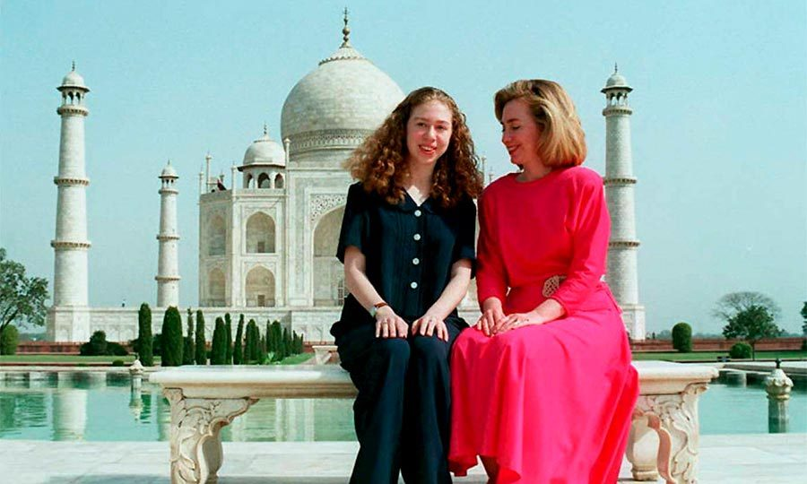 Hillary and Chelsea visited the Taj Mahal in 1995 as Hillary toured South Asia as the first lady.