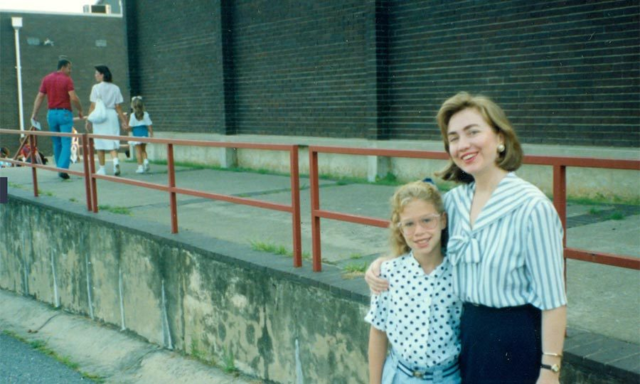 Chelsea and her mom on her first day of school year at Booker T. Washington Elementary School in Little Rock.