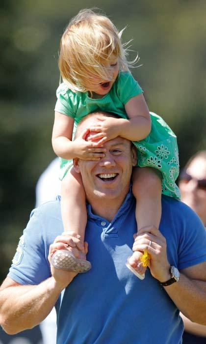 Mike Tindall and his daughter Mia made an adorable duo as they attended the British Eventing at Gatcombe Park, to watch mom Zara Phillips compete in the horse competition. 