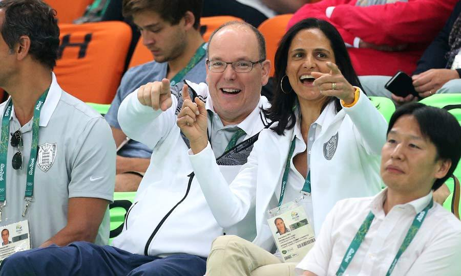 An animated Prince Albert of Monaco gleefully looked on as the French basketball team took on Australia, on the first day of the Olympic Games.