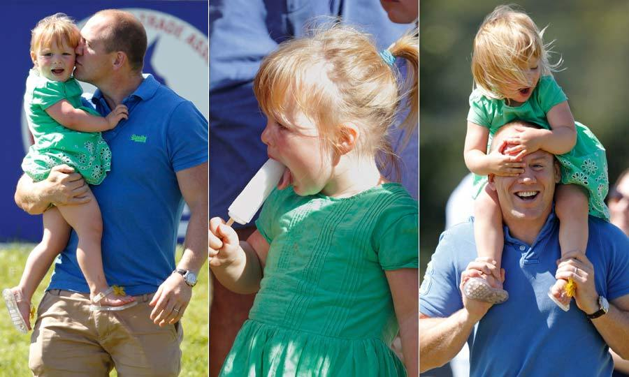 Adorable Mia enjoyed a fun day out with dad Mike Tindall at The Festival of British Eventing. As well as watching mom Zara compete in the competition, the little one was treated to ice-cream and shoulder rides from dad.