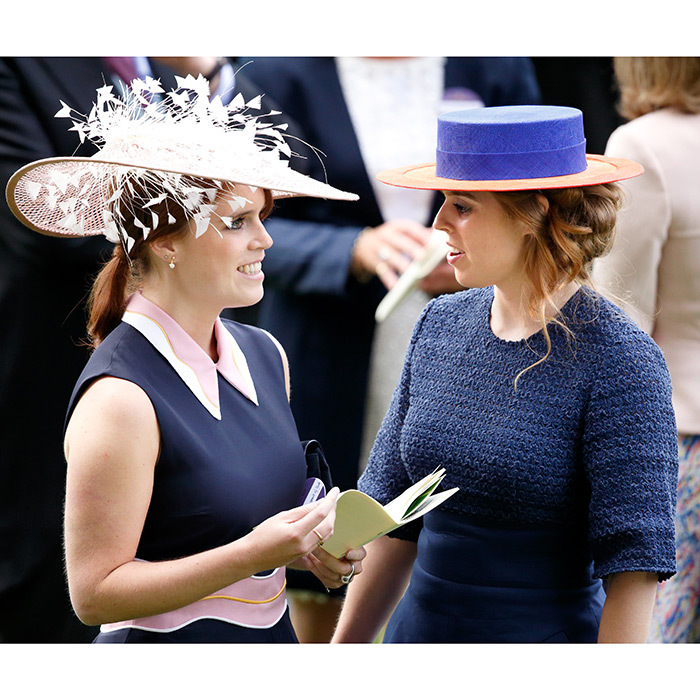 June 2016: Hat's some serious style! Princess Eugenie, left, and Princess Beatrice stepped out for 'Ladies Day' at Royal Ascot.