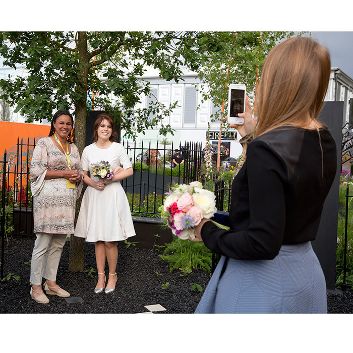 May 2016: Princess Beatrice got behind the lens to take a snap of her sis and garden designer Juliet Sargeant at the show.