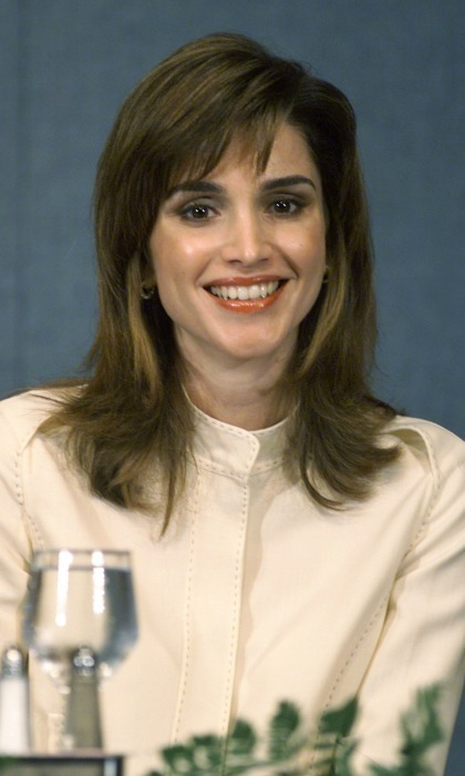 April 2001: Rania showed off her bangs, and her royal style, while her husband King Abdullah spoke at the National Press Club in Washington, D.C. 
