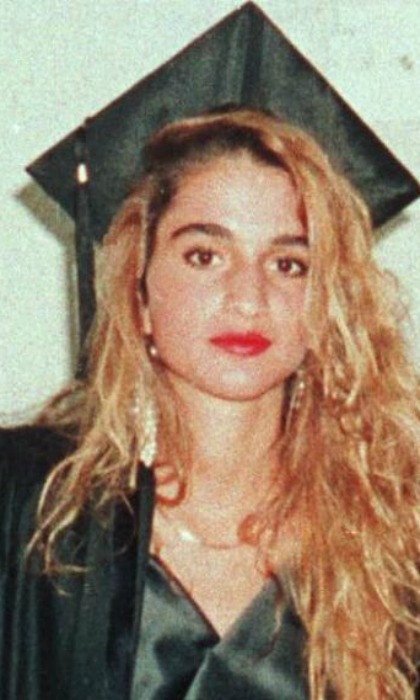 1991: Some serious 1990s style in this vintage shot taken at her graduation from the American University in Cairo. 