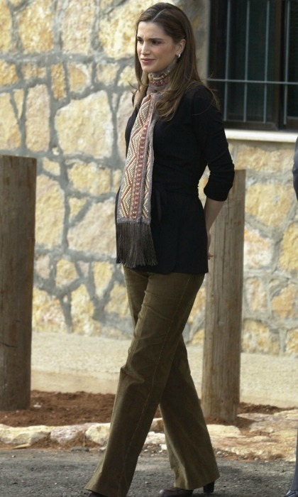 October 2012: Rania had the right look for fall during a tour of the Ajloun Royal Society for the Conservation of Nature Reserve in Jordan. 