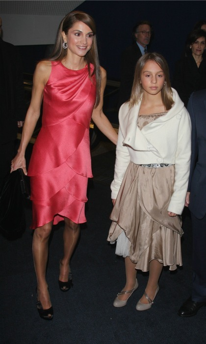 October 2008: Queen Rania and her daughter Princess Iman showed off their mother-daughter style during the premiere of <i>Quantum of Solace</i> in Paris. 
