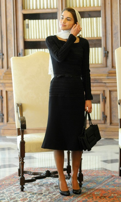 August 2013: Elegant in an LBD as she met with Pope Francis at the Pope's private library.