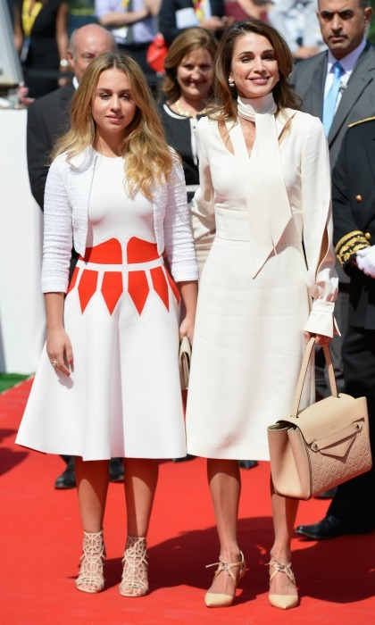 August 2015: Rania and Princes Iman showed off their chic twinning style during the Medef Summer 2015 University Conference.