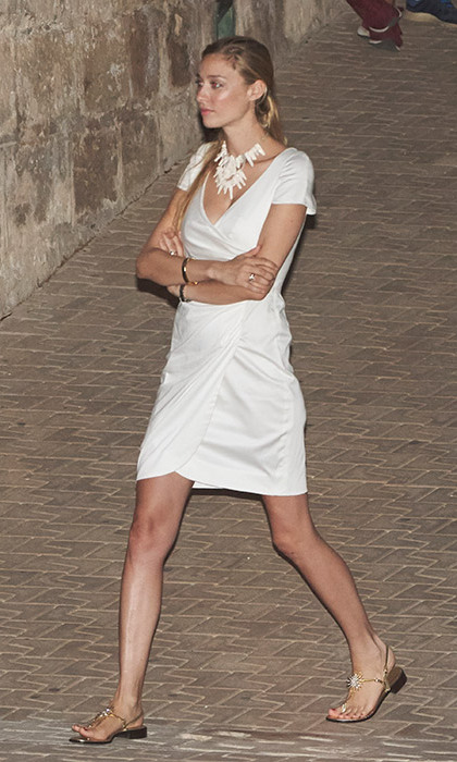 Beatrice Borromeo looked effortlessly chic in a white dress with a matching statement necklace.