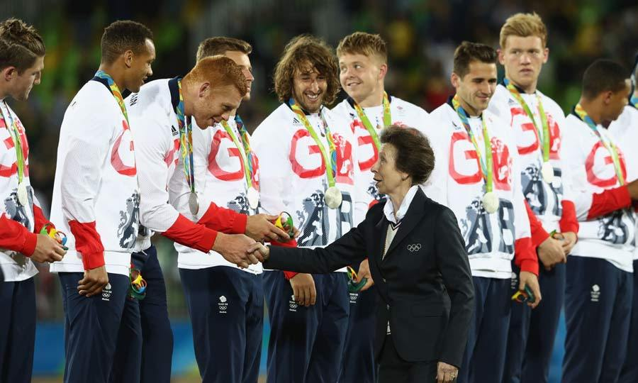 Although she felt slightly overwhelmed by the size of the GB rugby team, Princess Anne was delighted to congratulate them after their won the silver medal in the Rugby 7s competition.