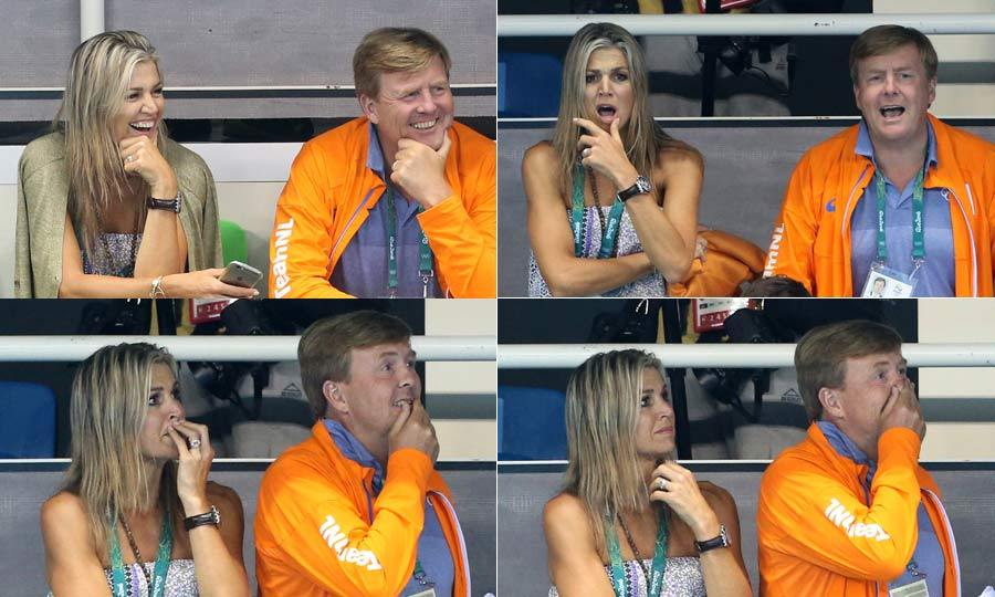 There was delight and shock for Queen Maxima and King Willem-Alexander of the Netherlands at the pool. The couple couldn't take their eyes off the riveting action that was unfolding in front of them, as they cheered on Dutch athletes from the sidelines.