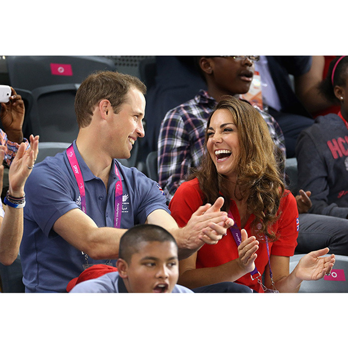 The royal couple shared a laugh while attending the 2012 Summer Olympics in London. 