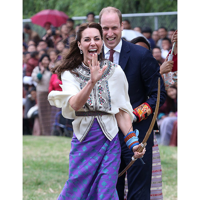 The Duke and the Duchess couldn't contain their laughter as Kate had a go at archery during their 2016 tour of Bhutan.