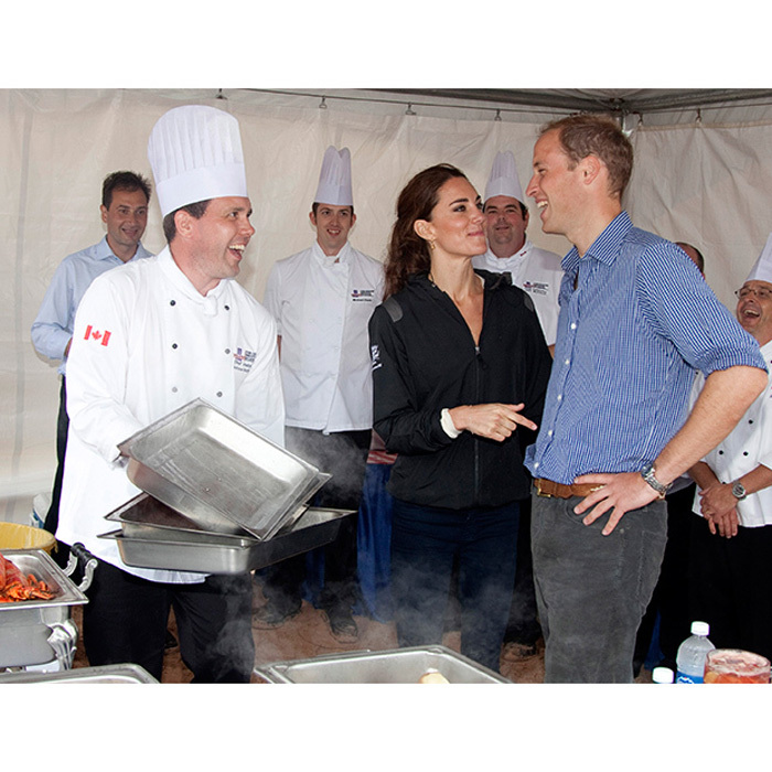 She got him! William laughed, while trying local delicacies in Canada with Kate.