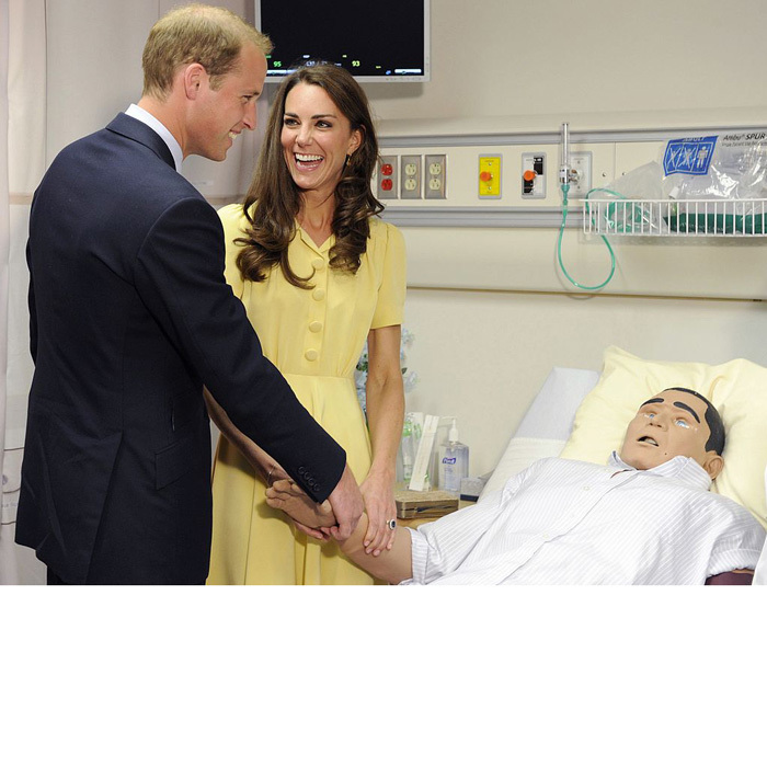 Prince William had Kate laughing as he held on to a medical test mannequin at the University of Calgary's Ward of the 21st Century in Canada.