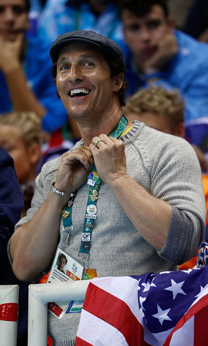 "Alright, alright, alright — go team USA! <a href=""https://us.hellomagazine.com/tags/1/Matthew-McConaughey/""><strong>Matthew McConaughey</strong></a> excitedly watched a swim session at the Olympic Aquatics Stadium.