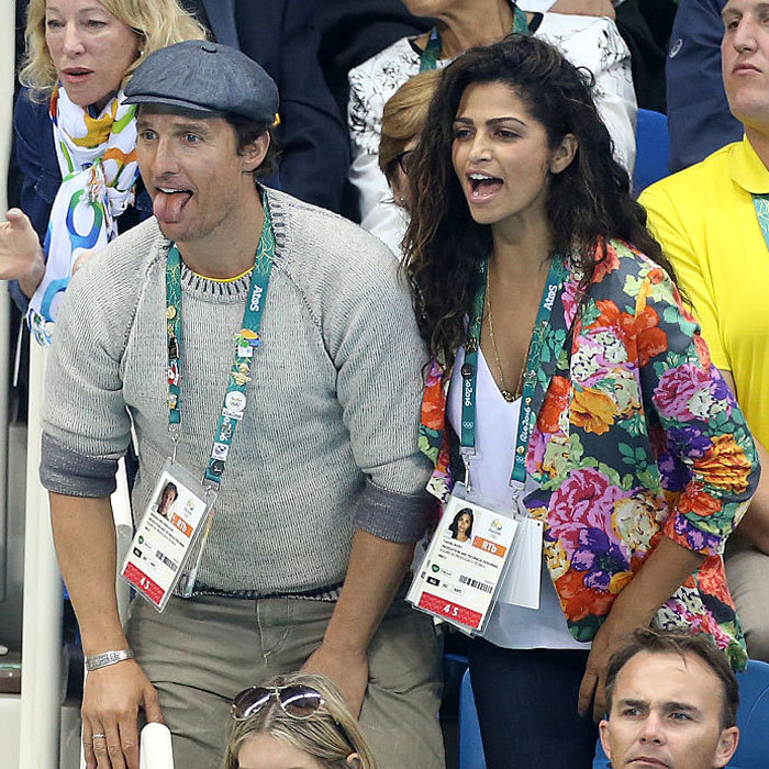 "<a href=""https://us.hellomagazine.com/tags/1/Matthew-McConaughey/""><strong>Matthew McConaughey</strong></a> and wife <b>Camila Alves</b> might be rooting for different countries, but the cute the couple made time to cheer together during the swimming finals on the sixth day of the Olympics.