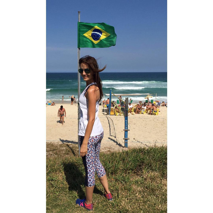 Greetings from Rio! Actress <b>Camilla Belle</b> shared a snap of herself on Facebook hanging on the beach in Brazil.