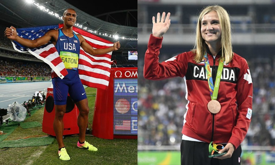 <b>American decathlon athlete Ashton Eaton and Canadian wife take home medals</b>