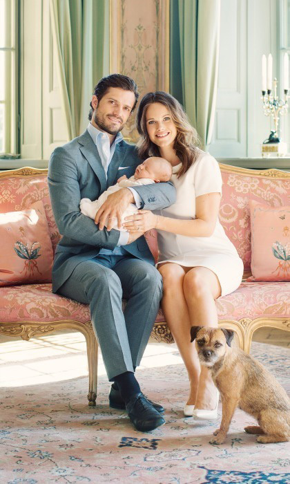 In May, the Swedish Palace released five portraits of Prince Alexander with his parents. The sweet family photos were taken at the royals' home Drottningholm Palace.