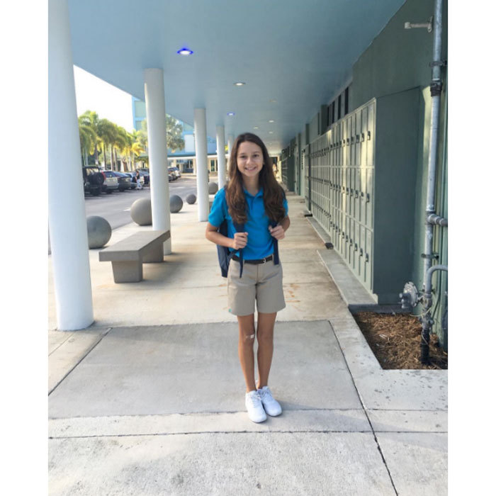 "Alex Rodriguez's daughter Natasha is ready to swing another school year out of the park! The former Yankees player shared a photo of his oldest child's first day of school writing, ""First day at Upper School. You'll knock it out of the park Tash.""