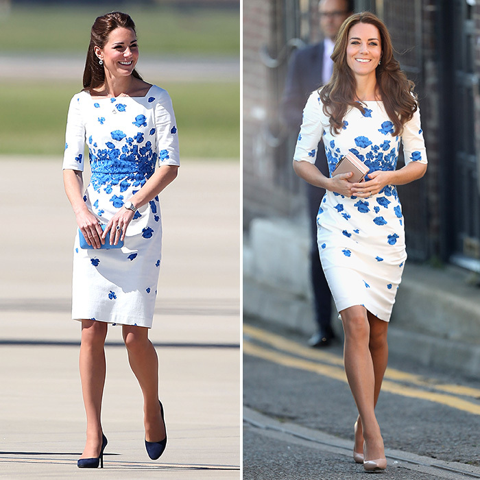 She wore an LK Bennett poppy print creation at Brisbane airport in Australia in 2014, left, finishing the look with blue accessories and a half-upswept hairstyle. In August 2016, the Duchess opted for the same frock for a visit to Youthscape in Luton, England, right, making the look lighter and breezier for summer with nude heels and a matching clutch, her highlighted hair falling around her shoulders.