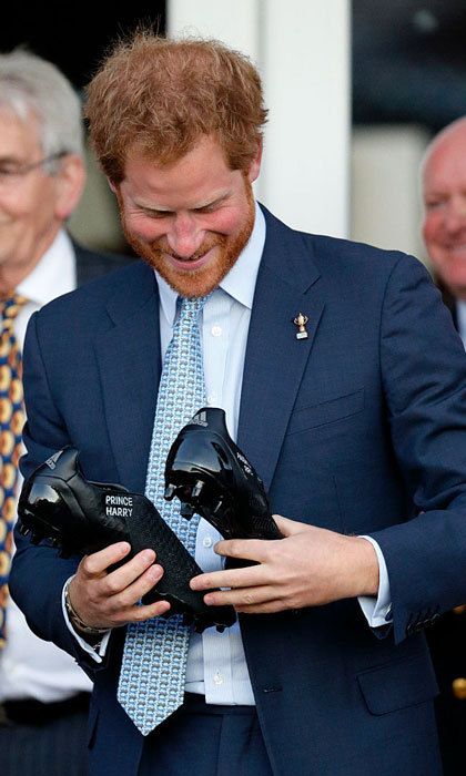 "Looks like no one can fill <a href=""https://us.hellomagazine.com/tags/1/prince-harry/""><strong>Prince Harry</strong></a>'s shoes other than himself! The royal was gifted personalized rugby shoes that feature his name stitched on the side during a visit to the Paignton Rugby Club.