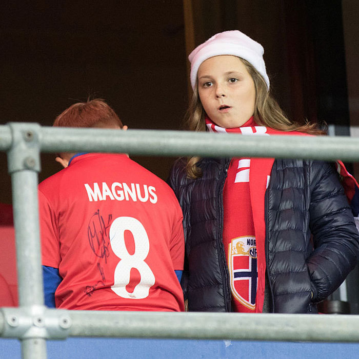 Prince Sverre Magnus of Norway showed off his team spirit sporting a jersey with his name at a soccer game in Oslo with his sister Princess Ingrid Alexandra.