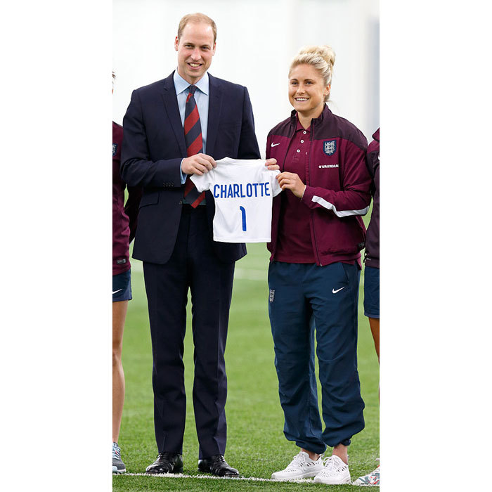 "Perhaps one day she'll bend it like Beckham! <a href=""https://us.hellomagazine.com/tags/1/prince-william/""><strong>Prince William</strong></a> was presented with a jersey for his daughter <a href=""https://us.hellomagazine.com/tags/1/princess-charlotte/""><strong>Princess Charlotte</strong></a>, while meeting England women's soccer team in 2015. 