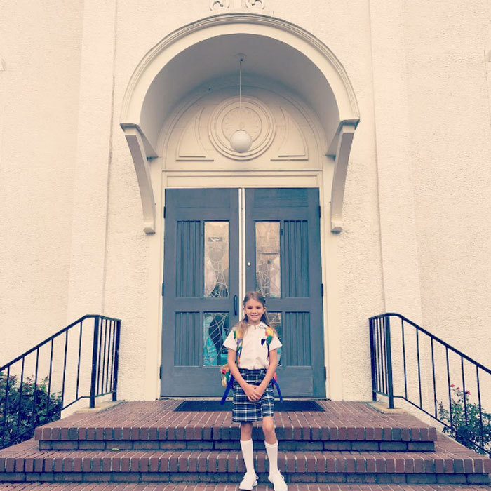Off to third grade! <b>Jamie Lynn Spears</b> posted a sweet photo of daughter Maddie Aldridge wearing her school uniform.