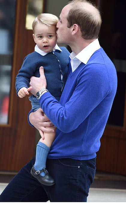 May 2015: Eager to see his new little sister, George was taken to the hospital to meet Princess Charlotte.