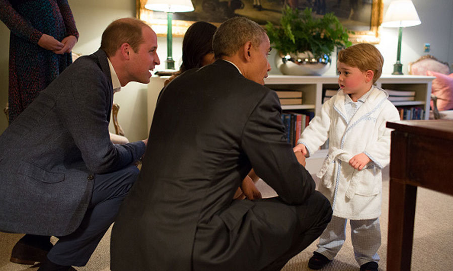 April 2016: Foreign policy never looked so adorable! Prince George met President Barack Obama when he visited with his parents and Prince Harry at Kensington Palace.